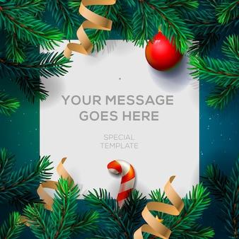 Kartkę z życzeniami wesołych świąt z gałązkami jodły w wystroju chrirstmas i konfetti,