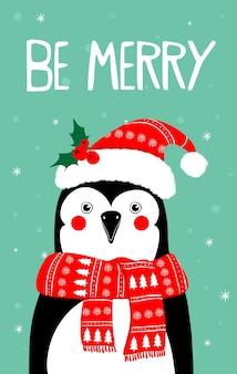 Kartkę z życzeniami wesołych świąt z ilustracjami wektorowymi postaci pingwina