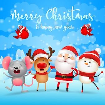 Kartkę z życzeniami wesołych świąt z mikołajem, reniferami, bałwanem i myszą