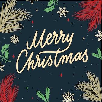 Kartkę z życzeniami wesołych świąt z płatki śniegu i gałęzie jodły