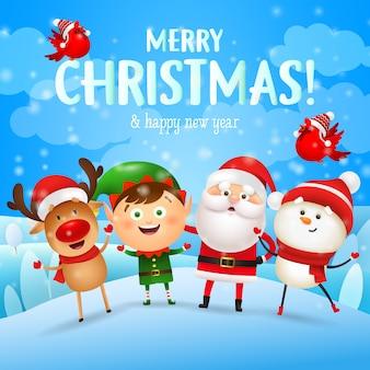 Kartkę z życzeniami wesołych świąt z postaciami bożego narodzenia