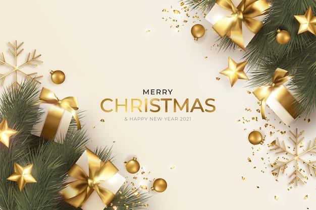Kartkę z życzeniami wesołych świąt z realistyczną dekoracją świąteczną