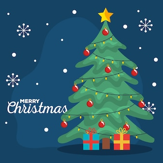 Kartkę z życzeniami wesołych świąt z sosną z prezentami i płatkami śniegu