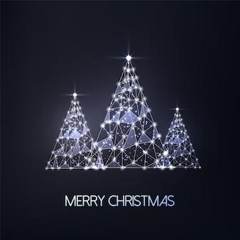 Kartkę z życzeniami wesołych świąt z trzema futurystycznymi świecącymi niskimi wielokątnymi drzewami na czarnym tle. nowoczesna konstrukcja z siatki drucianej.