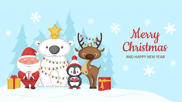 Kartkę z życzeniami wesołych świąt ze śmiesznymi zwierzętami i mikołajem