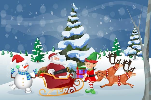 Kartkę z życzeniami wesołych świąt zima święty mikołaj z bałwanem i elfem