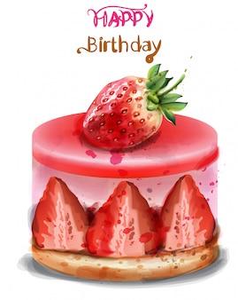 Kartkę z życzeniami wszystkiego najlepszego. akwarela truskawkowy tort urodzinowy