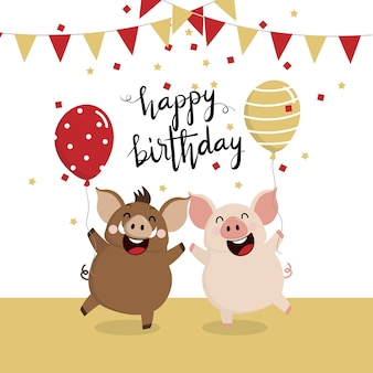 Kartkę z życzeniami wszystkiego najlepszego z cute knur i świnia