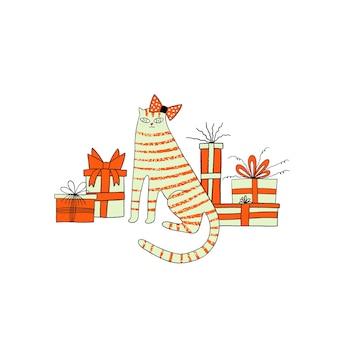 Kartkę z życzeniami wszystkiego najlepszego z ładny kot i pudełka na prezenty. przyjęcie urodzinowe. ilustracja wektorowa