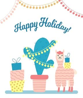 Kartkę z życzeniami z alpaką kreskówka, pudełkami prezentowymi i zdobionym kaktusem na białym tle.