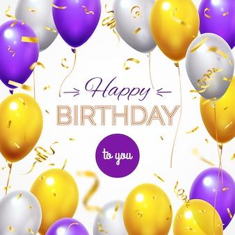 Kartkę z życzeniami z balonami. wszystkiego najlepszego świecący latający balon helowy i złote błyszczące konfetti dla szablonu karty z pozdrowieniami