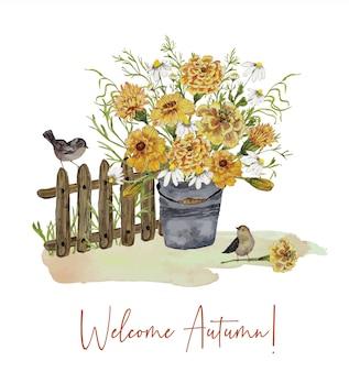 Kartkę z życzeniami z bukietem kwiatów i ptaków