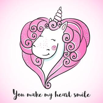 Kartkę z życzeniami z cute jednorożca.