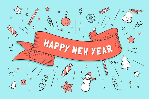 Kartkę z życzeniami z czerwoną wstążką i szczęśliwego nowego roku