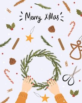 Kartkę z życzeniami z elementami zimy. ręcznie rysowane zima ilustracja z boże narodzenie wieniec.