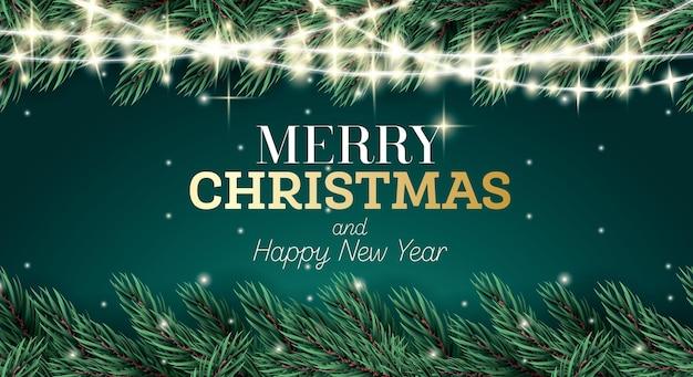 Kartkę z życzeniami z gałązką jodły i neonową girlandą na zielonym tle. wesołych świąt i szczęśliwego nowego roku. ilustracja wektorowa.