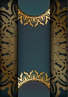 Kartkę z życzeniami z gradientowym zielonym kolorem z indyjskimi złotymi ornamentami dla swojego projektu.
