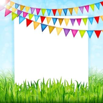 Kartkę z życzeniami z kolorowe flagi i tło zielona trawa