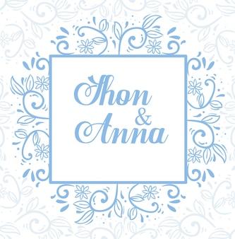 Kartkę z życzeniami z kwiatami i liśćmi w kwadratowej ramce, zaproszenie na ślub z dekoracją kwiatów i liści
