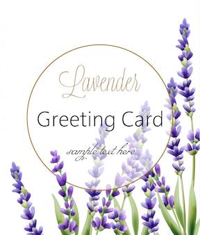 Kartkę z życzeniami z kwiatami lawendy i miejsce na tekst