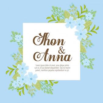 Kartkę z życzeniami z kwiatami w kolorze niebieskim, zaproszenie na ślub w kolorze niebieskim i gałęzie z dekoracją liści