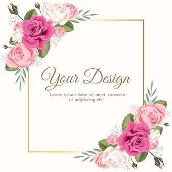 Kartkę z życzeniami z kwiatową różą można wykorzystać jako zaproszenie na ślub, urodziny i inne tło wakacje i lato.