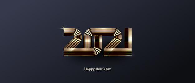 Kartkę z życzeniami z logo złotego nowego roku na czarnym tle.