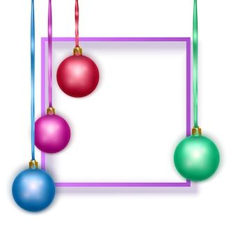 Kartkę z życzeniami z niebieską ramką tekstową i kolorowymi bombkami pocztówka karta noworoczna