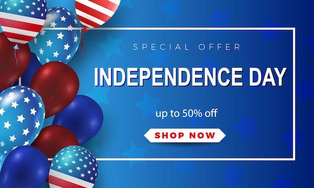 Kartkę z życzeniami z okazji dnia niepodległości czwartego lipca. amerykańska patriotyczna ilustracja. ciemnoniebieskie tło i 3d balony z symbolami.