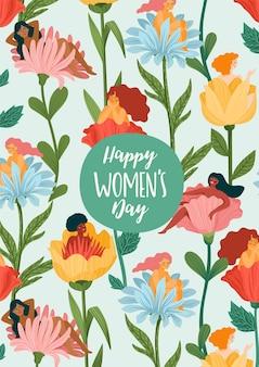 Kartkę z życzeniami z okazji międzynarodowego dnia kobiet z kobietami i kwiatami
