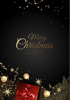 Kartkę z życzeniami z ozdób choinkowych, gałęzi sosny, kule, gwiazdy i śnieg.
