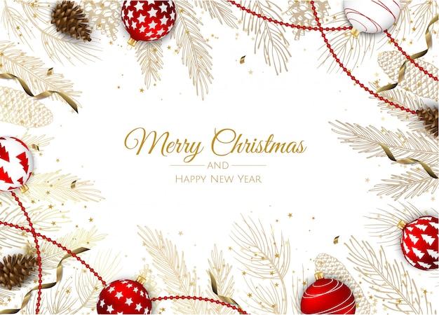 Kartkę z życzeniami z ozdoby choinkowe, gałęzie sosny, śnieżynka i konfetti