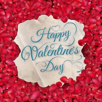 Kartkę z życzeniami z płatkami róż