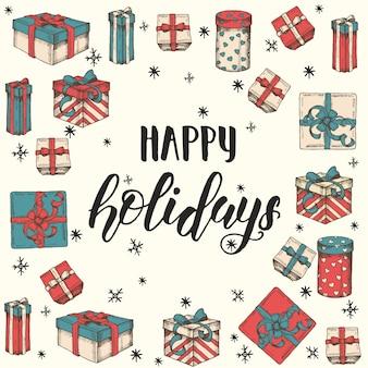 Kartkę z życzeniami z ręcznie rysowane zestaw prezentów, paczek i ręcznie wykonany cytat