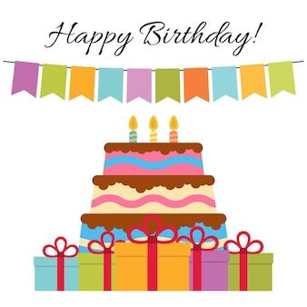 Kartkę z życzeniami z słodkie ciasto na urodziny. ilustracja wektorowa