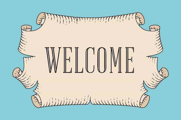 Kartkę z życzeniami z starego rocznika starożytny zwój i słowo witamy