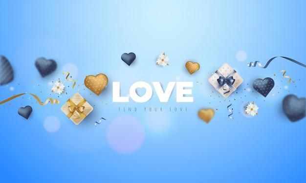 Kartkę z życzeniami z tekstem miłości na niebieskim tle