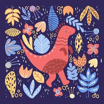 Kartkę z życzeniami z uroczym dinozaurem i różnymi roślinami.