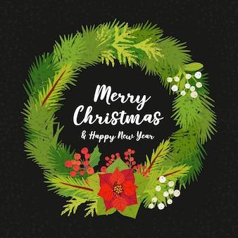 Kartkę z życzeniami z wieniec bożonarodzeniowy.