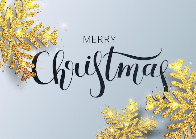Kartkę z życzeniami, zaproszenie z szczęśliwego nowego roku 2021. odręczny napis. metaliczny złoty świąteczny płatek śniegu, dekoracja, połyskujące, błyszczące konfetti