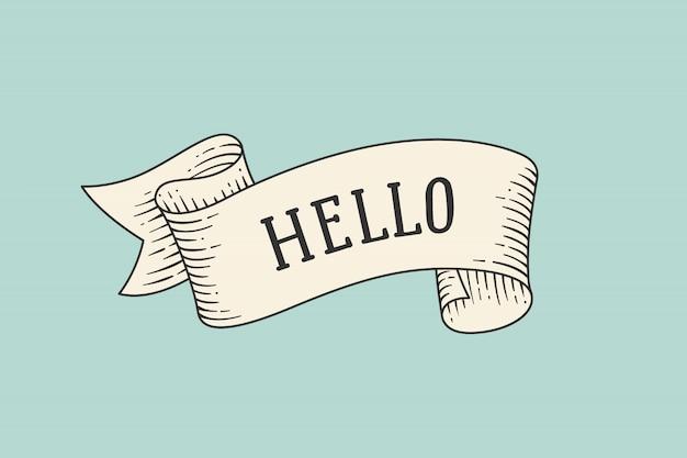 Kartkę z życzeniami ze wstążką i słowem hello