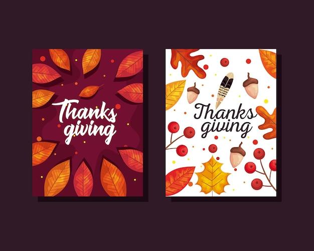 Kartki na święto dziękczynienia z jesiennymi liśćmi i żołędziami, ilustracja motywu sezonu