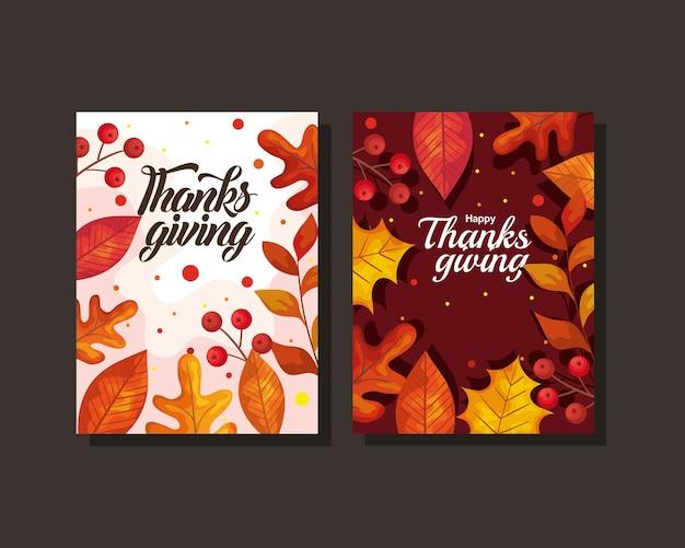 Kartki na święto dziękczynienia z jesiennymi liśćmi, ilustracja motywu sezonu