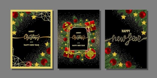 Kartki świąteczne i noworoczne ze złotym napisem