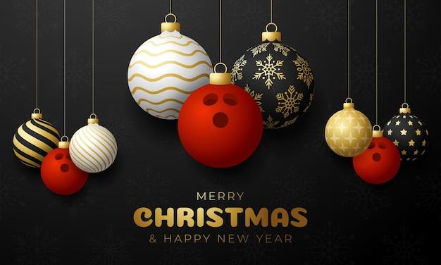 Kartki świąteczne w kręgle. wesołych świąt sport kartkę z życzeniami. powiesić na wątku kula do kręgli jako kula bożonarodzeniowa i złota bombka na czarnym poziomym tle. ilustracja wektorowa sportu.