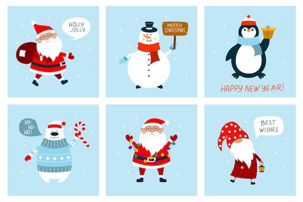 Kartki świąteczne z bałwanem, gnomem, niedźwiedziem polarnym, mikołajem, pingwinem. płaski styl kreskówki.