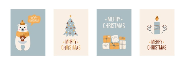 Kartki świąteczne z pudełkami prezentowymi choinka słodka świeca polarna i rośliny