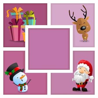 Kartki świąteczne z santa, bałwanem, pudełkiem i reniferem w ramce na różowym tle. ilustracja