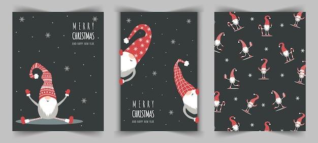 Kartki świąteczne z uroczym skrzatem nordyckim w czerwonym kapeluszu. wesołych świąt i szczęśliwego nowego roku.