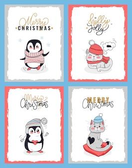 Kartki świąteczne ze zwierzętami w zimowe ubrania